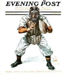 An old Saturday Evening Post with a Baseball Catcher on the cover