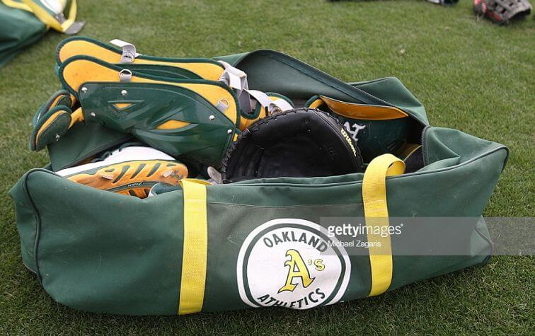Catchers bag from the Oakland Athletics