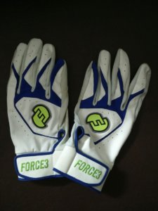 Force3 batting gloves, white and blue