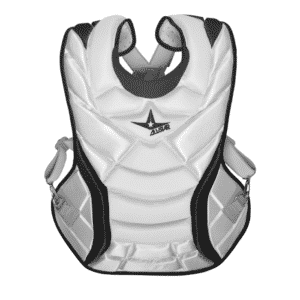 front of all star vela chest protector white and black