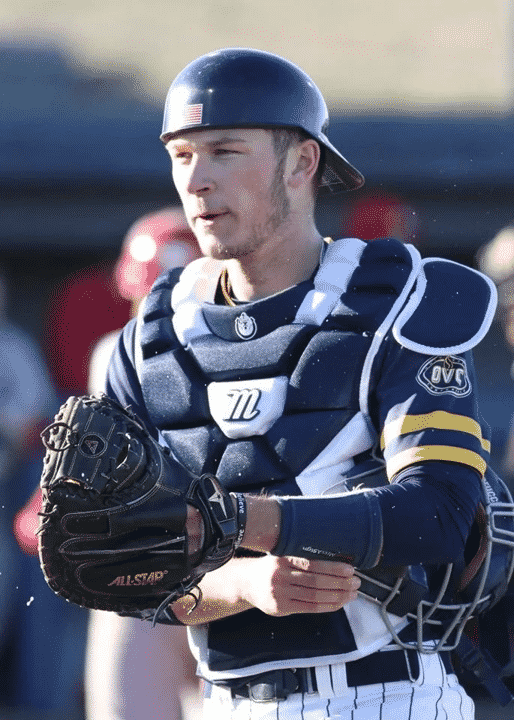 marucci catcher's gear on a college catcher, Murray State catcher with Marucci chest protector
