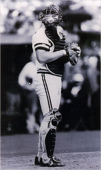 Benny Distefano catching with the Pittsburgh Pirates
