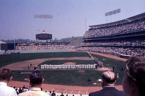 Dodger Stadium in the 1960s, opening lineups