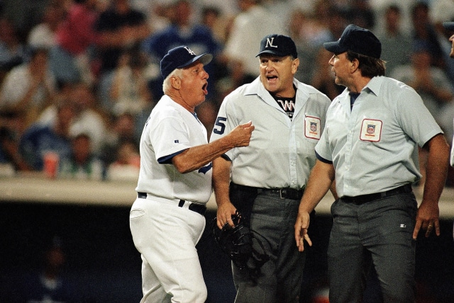 Tommy Lasorda arguing with the umps in 1995 (AP Photo/Michael Caulfield)