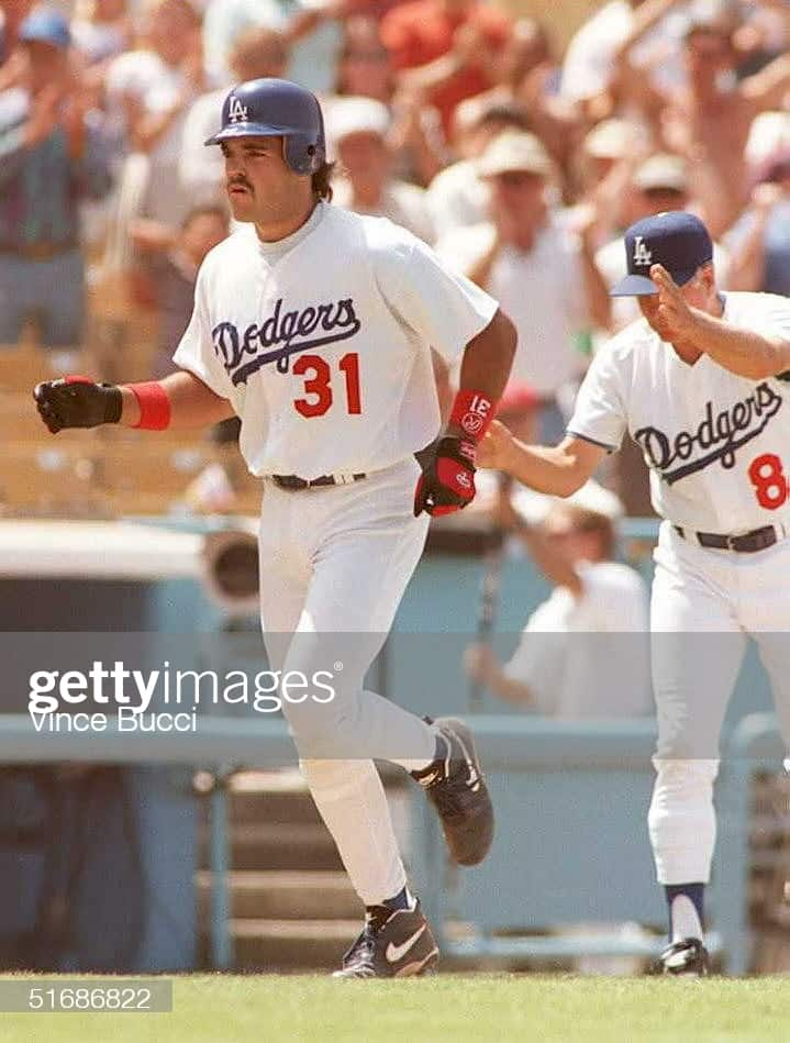 Mike Piazza after hitting a home run in 1995 at dodger stadium