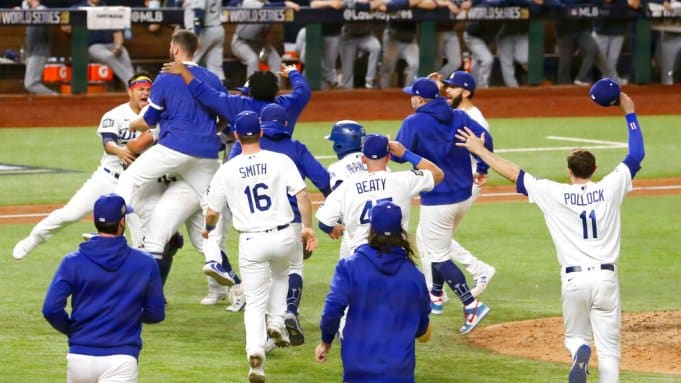 Dodgers celebrating their World Series win over the Rays in 2020