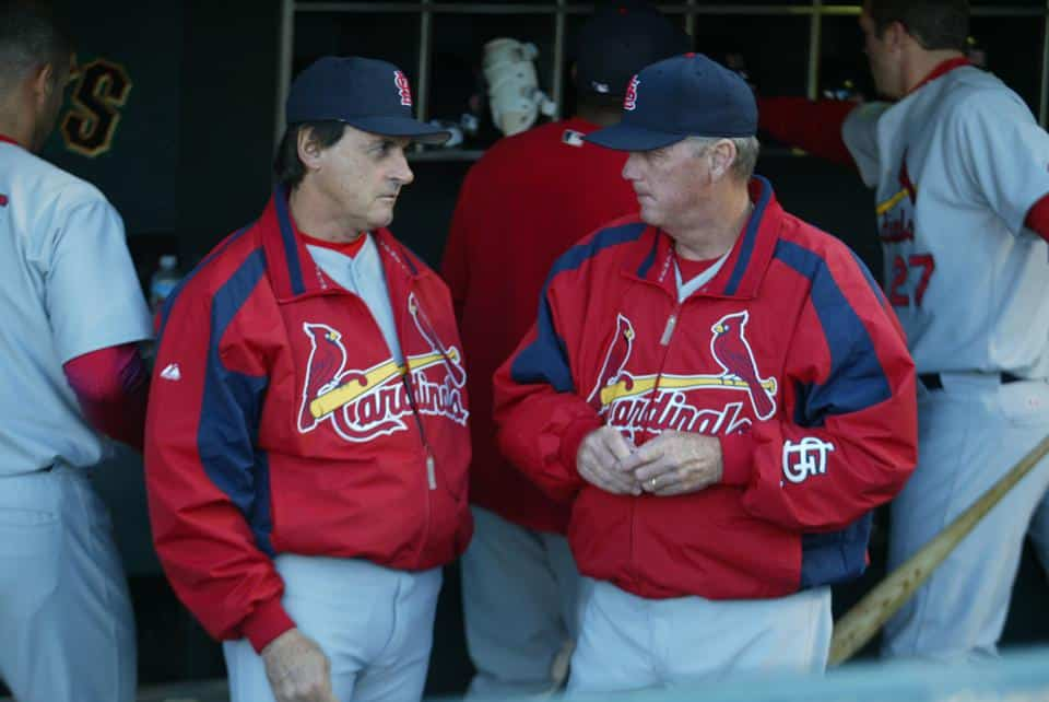 St Louis Cardinals coaches talking during a game