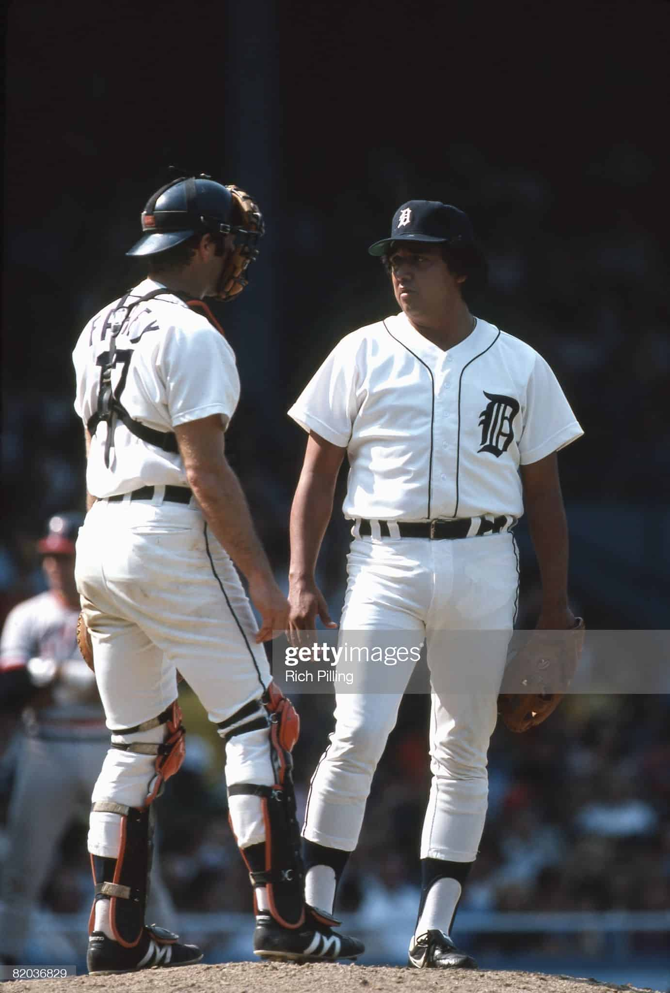 1981 Detroit Tigers meeting at the mound at Tiger Stadium, pitcher and catcher