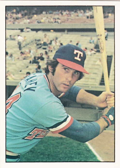 Bill Fahey posing for a picture with his bat while a member of the Texas Rangers in the early 70s