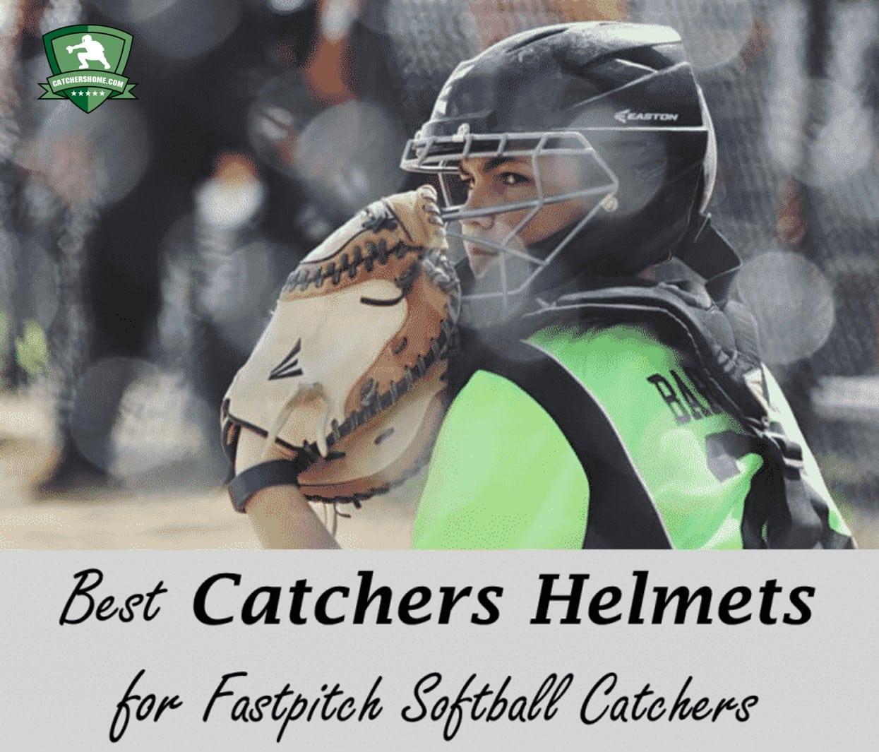 Fastpitch Softball Catchers Helmet. Picture of Softball Catcher getting the sign.