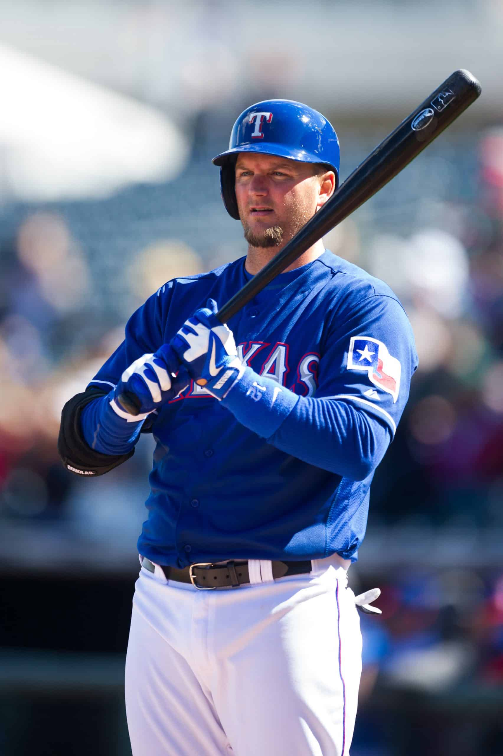 Former catcher A.J. Pierzynski on deck during spring training with the Rangers