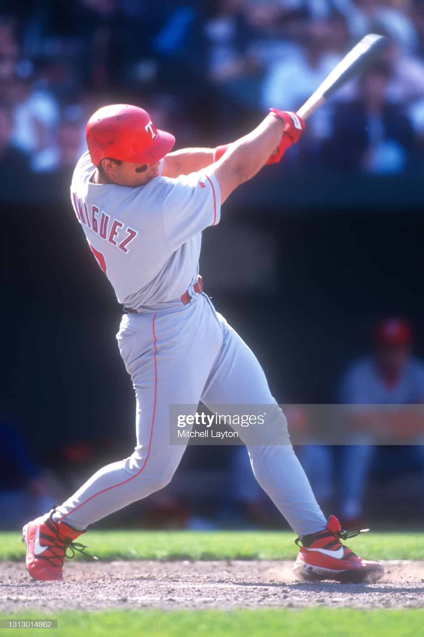 Ivan Rodriguez in 1996 at bat against the Orioles