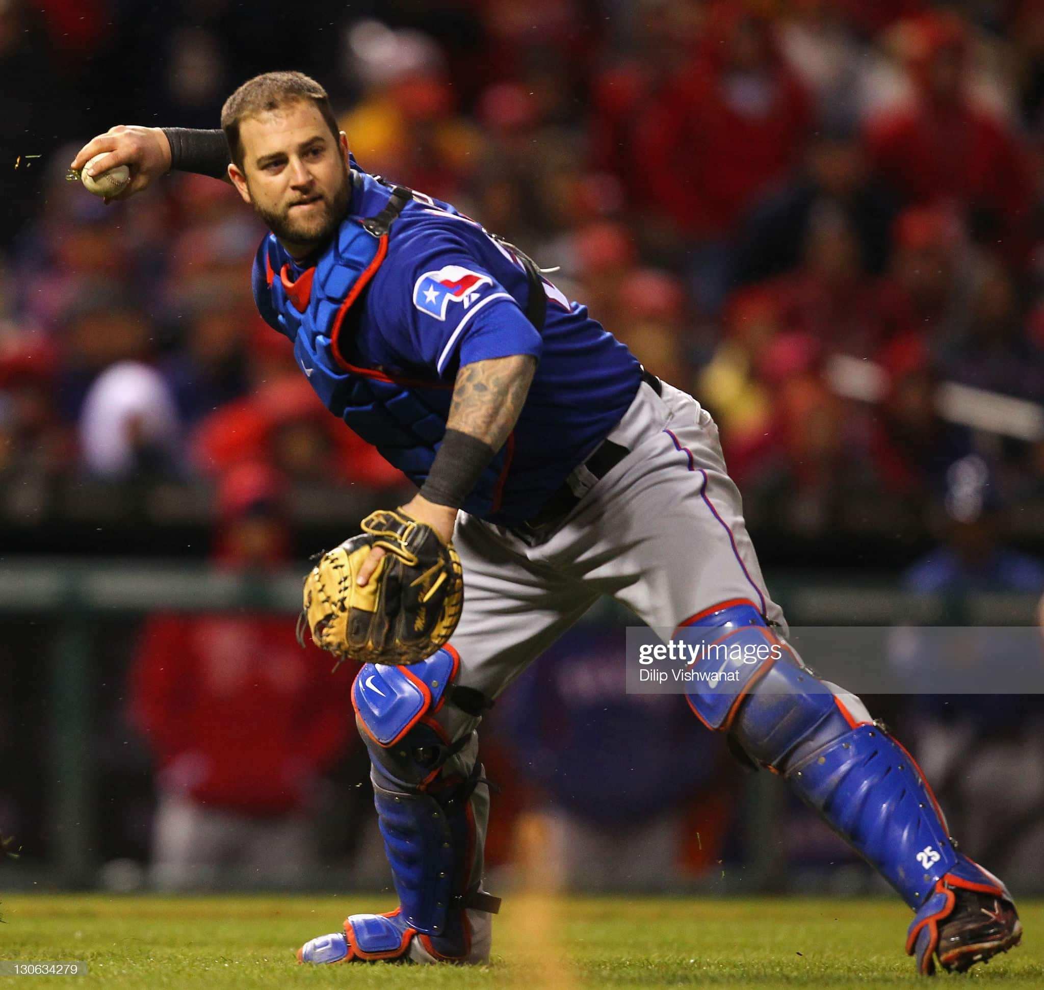 Rangers catcher Mike Napoli during the 2011 world series