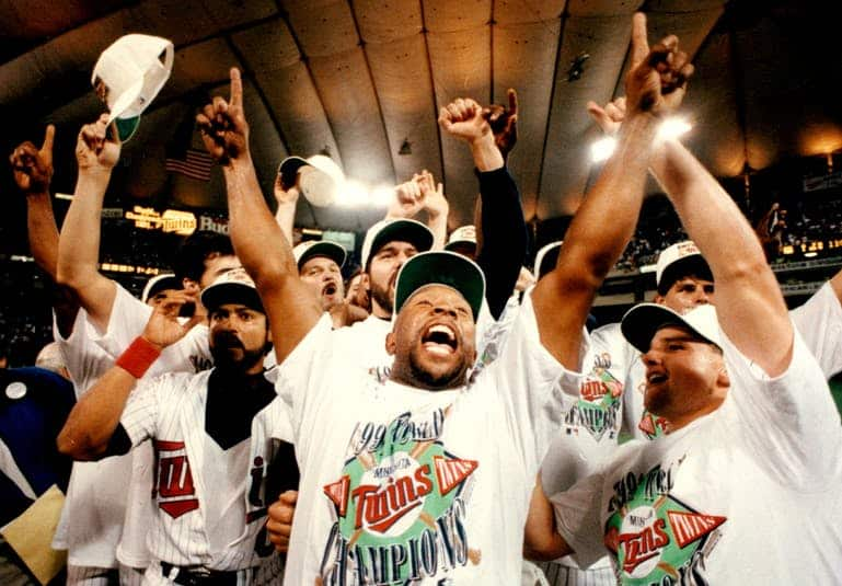 Kirby Puckett and the Twins celebrate their World Series win in 1991