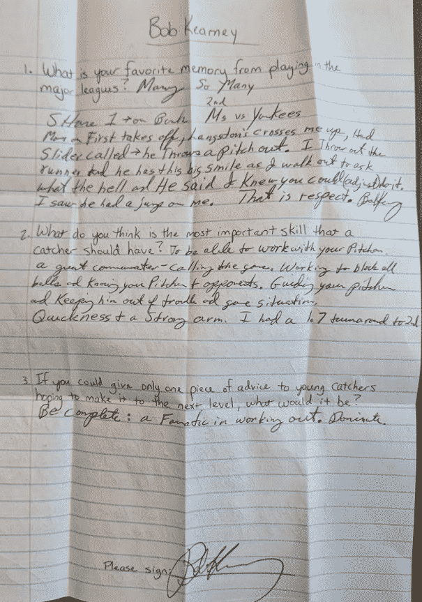 Letter and Q&A from former MLB catcher Bob Kearney
