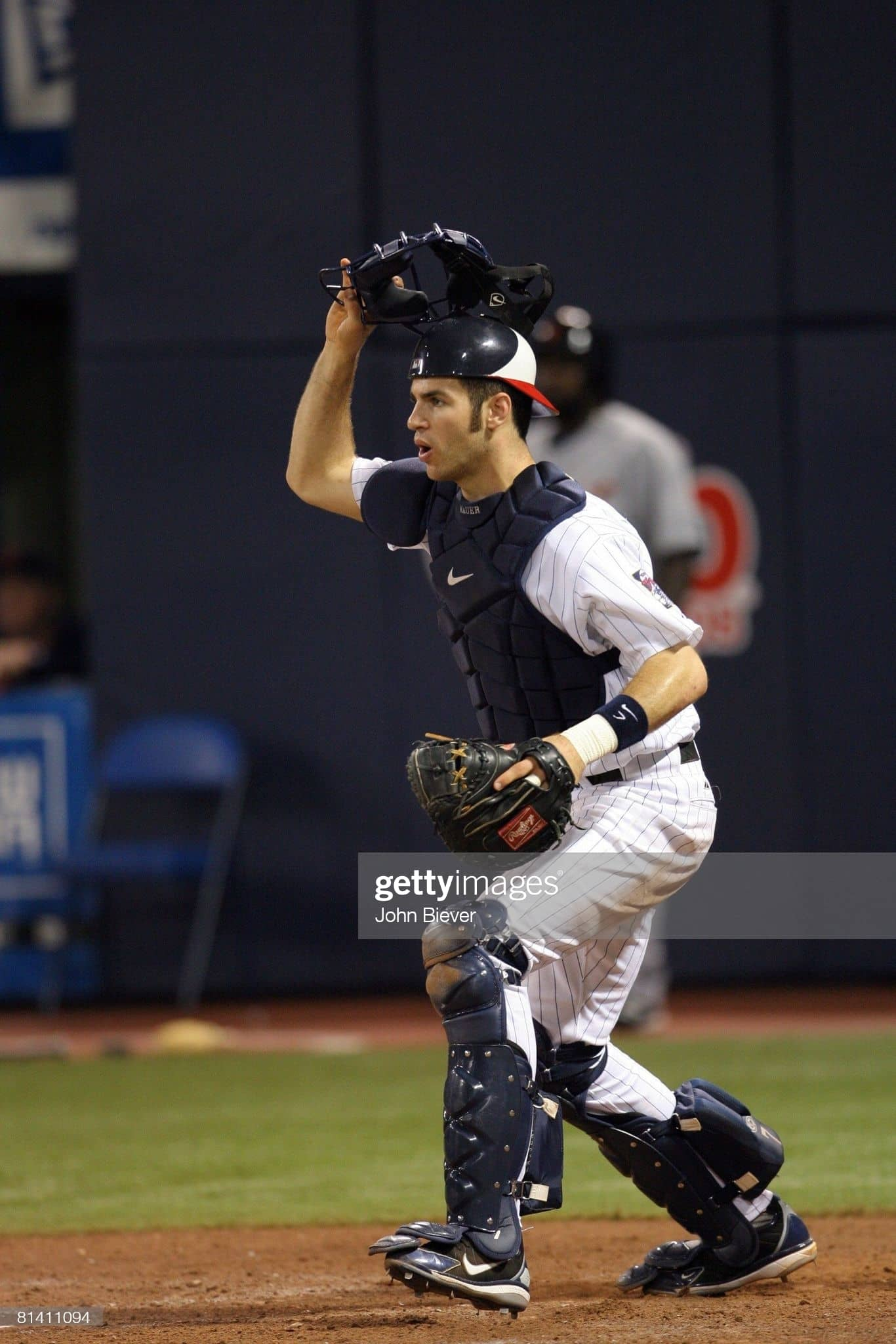 Joe Mauer in a 2006 home game against the Tigers