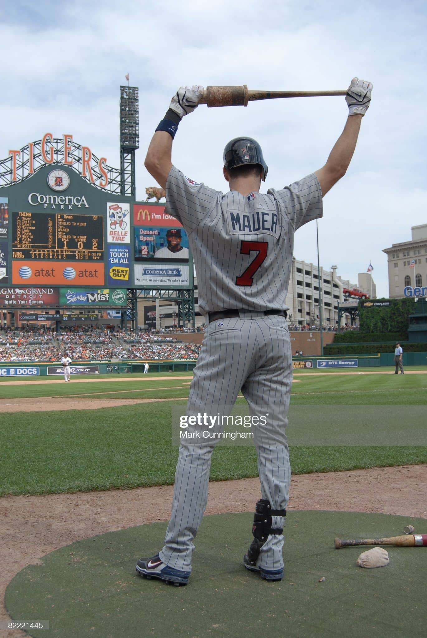 Joe Mauer in the on deck circle in 2008 in Detroit