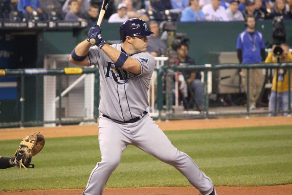 A top among Tampa Bay Rays catchers is Kelly Shoppach, at bat