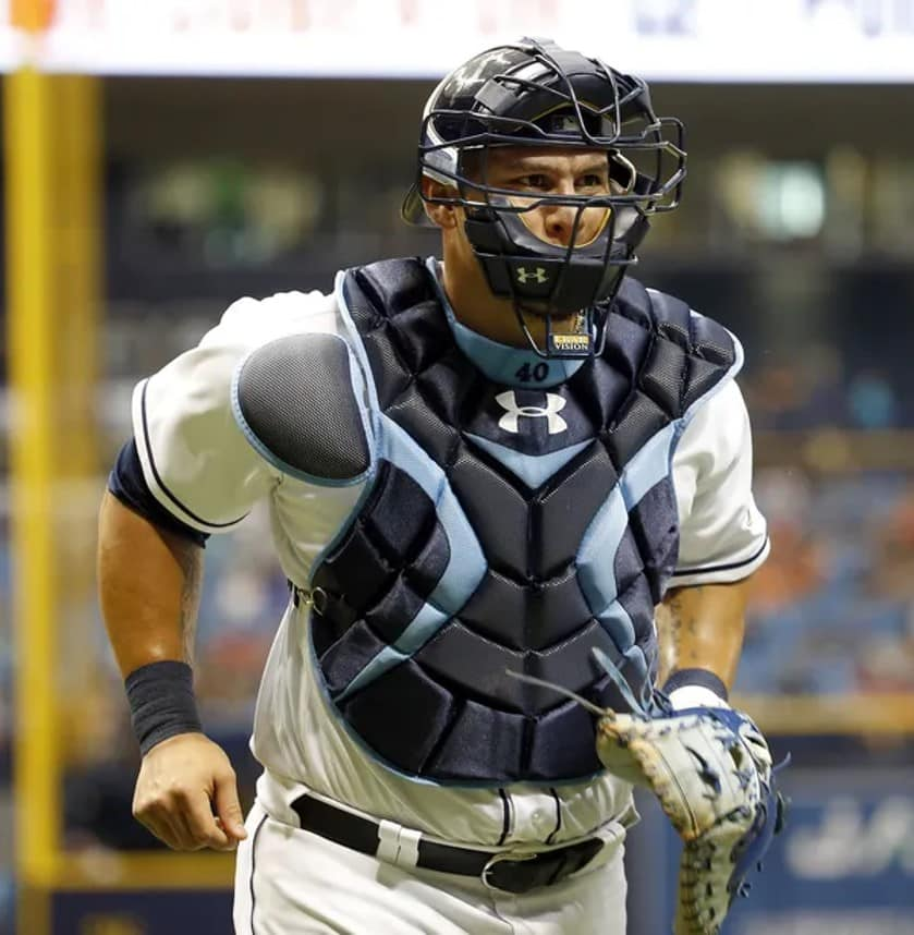 Catcher Wilson Ramos jogging while playing for the Tampa Bay Rays