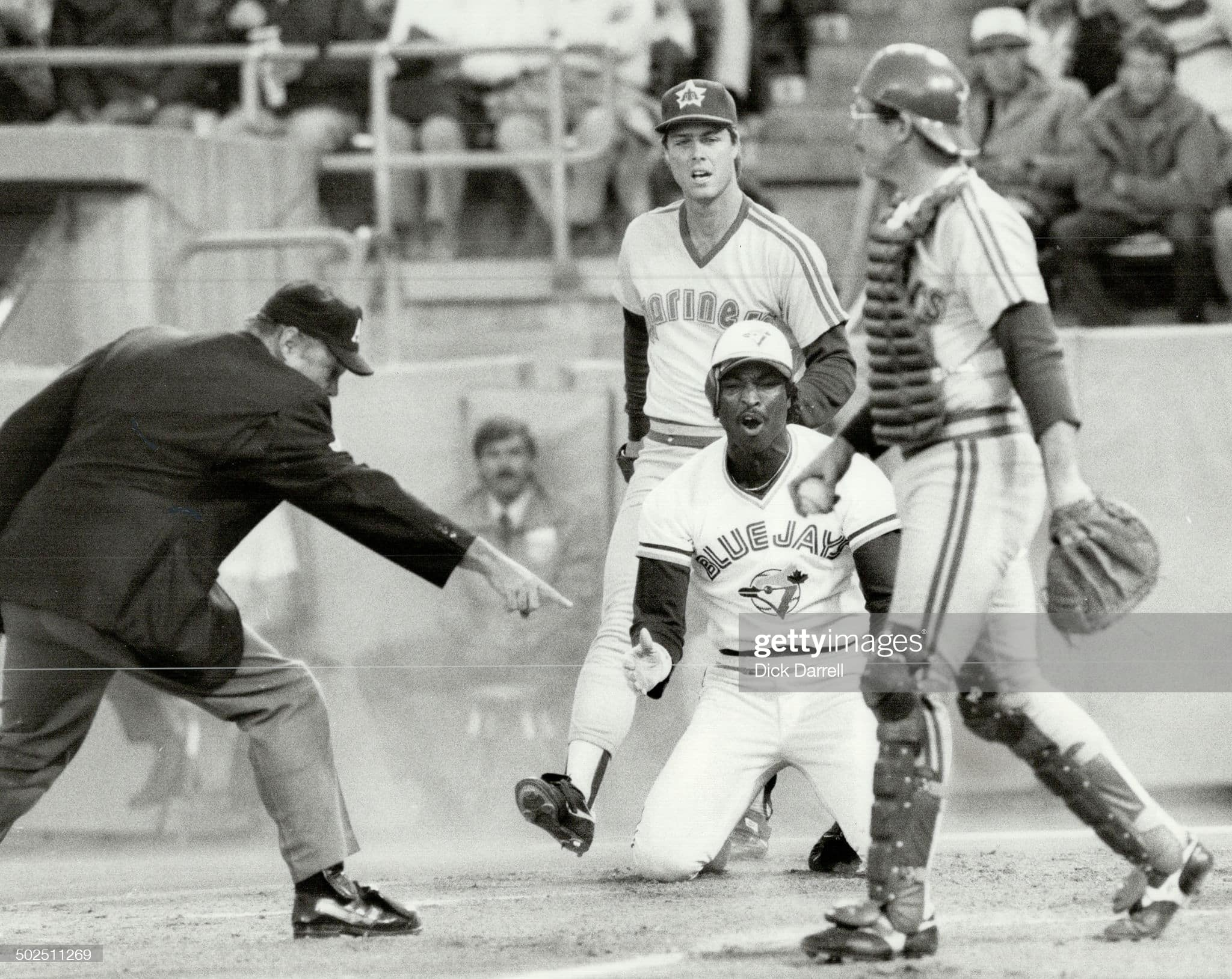 Seattle Mariners and Toronto Blue Jays during a 1984 game in Toronto