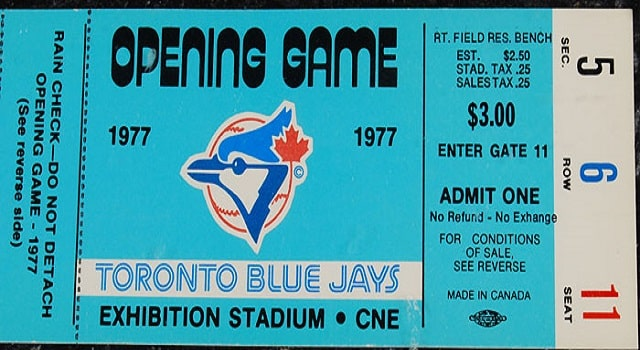 Ticket Stub from the Toronto Blue Jays first ever game