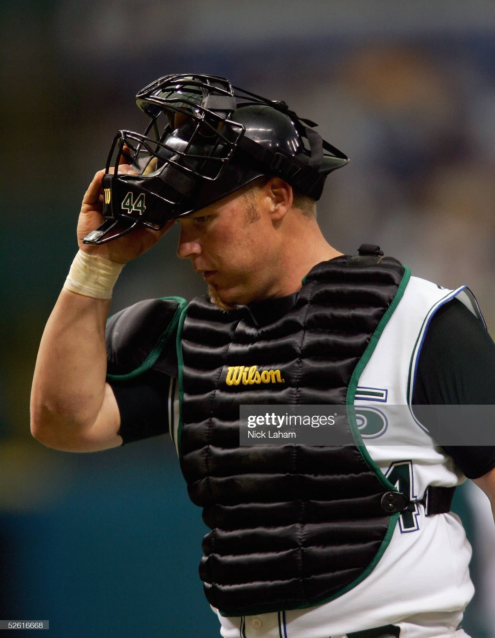 One of the top Tampa Bay Rays catchers of all time is Toby Hall during a 2005 game
