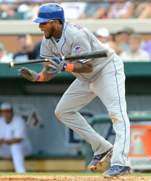Jordany Valdespin of the New York Mets hit in the groin