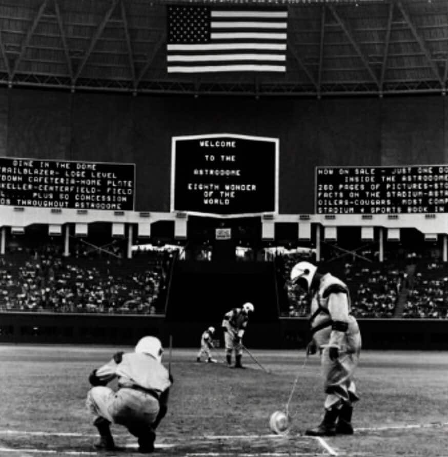 The Astrodome groundskeepers in 1965. Astrodome the eight wonder of the world