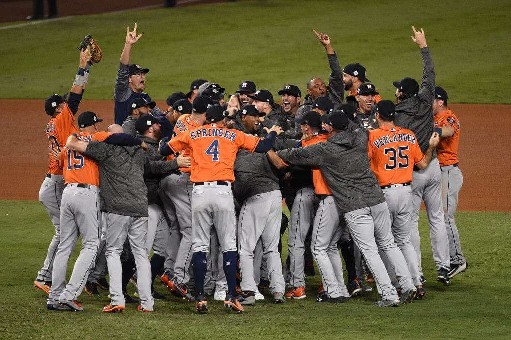 The Houston Astros after winning the 2017 World Series