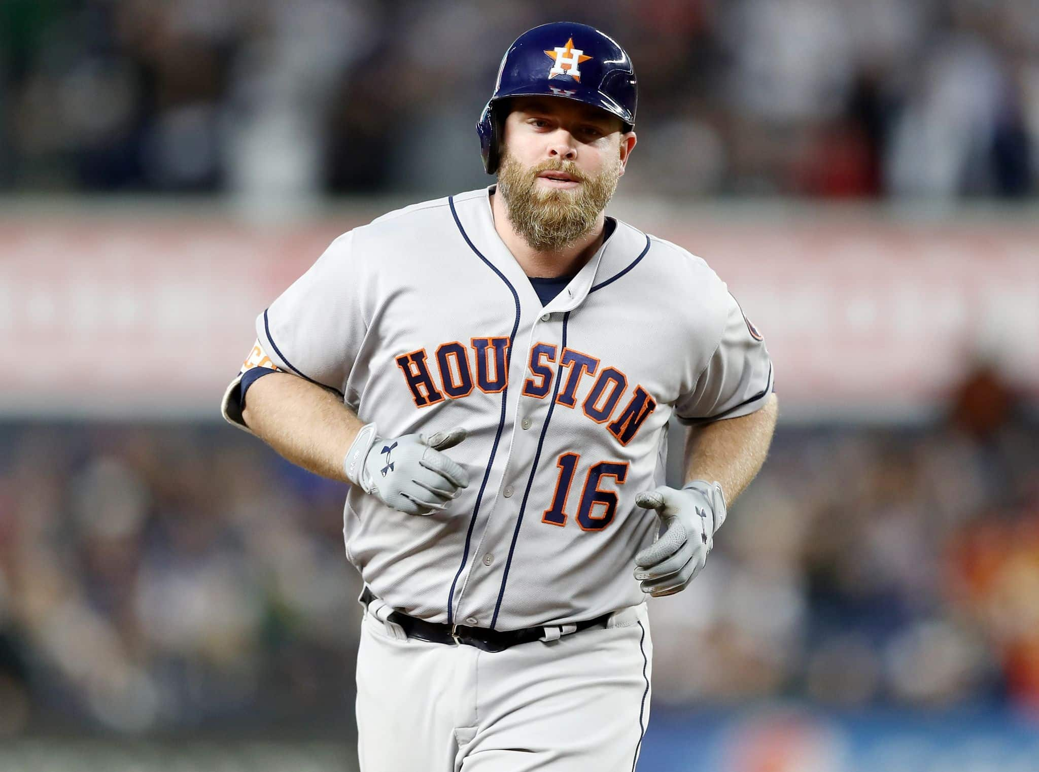 Former Houston Astros catcher Brian McCann circling the bases