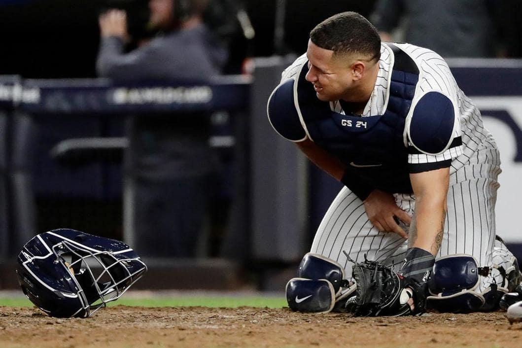 New York Yankees catcher Gary Sanchez after he was hit in the nuts
